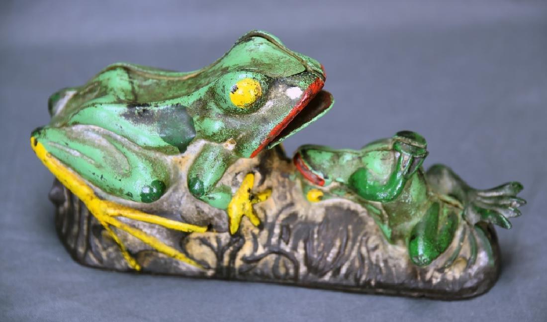 2 Frogs Mechanical Bank J&E Stevens Company - 2