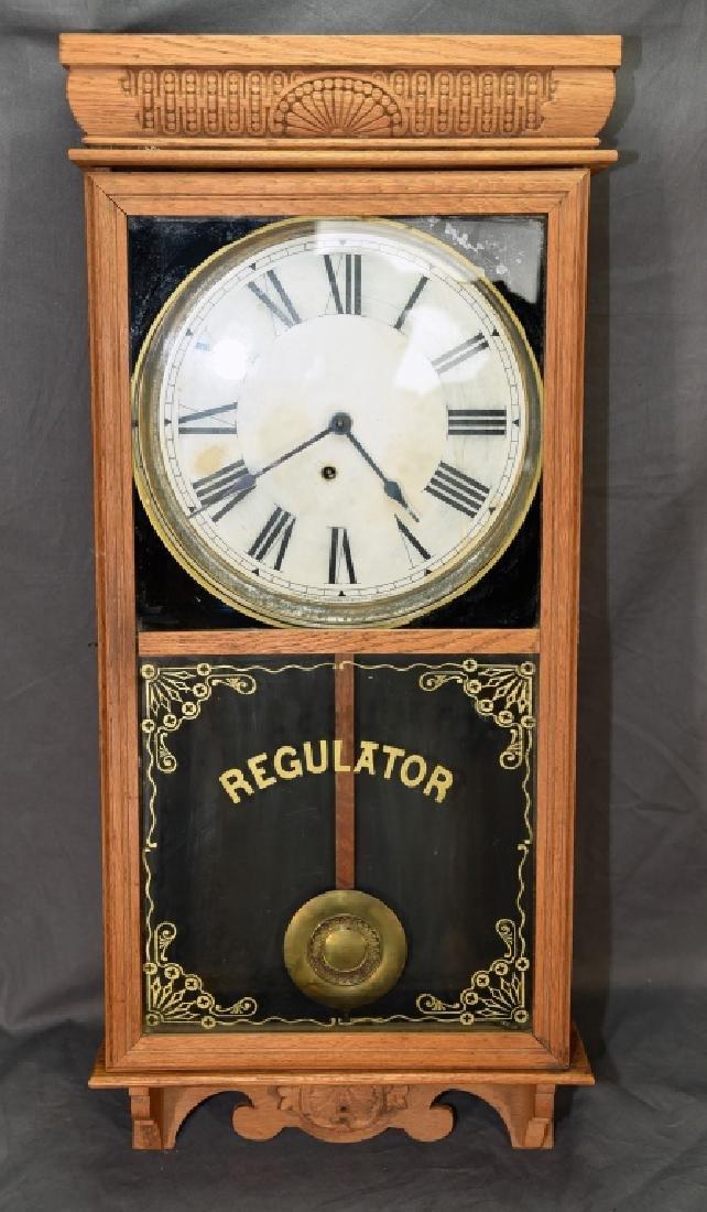 Ingraham Pressed Oak Regulator Clock