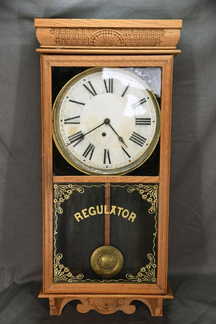 Ingraham Pressed Oak Regulator Clock - 2