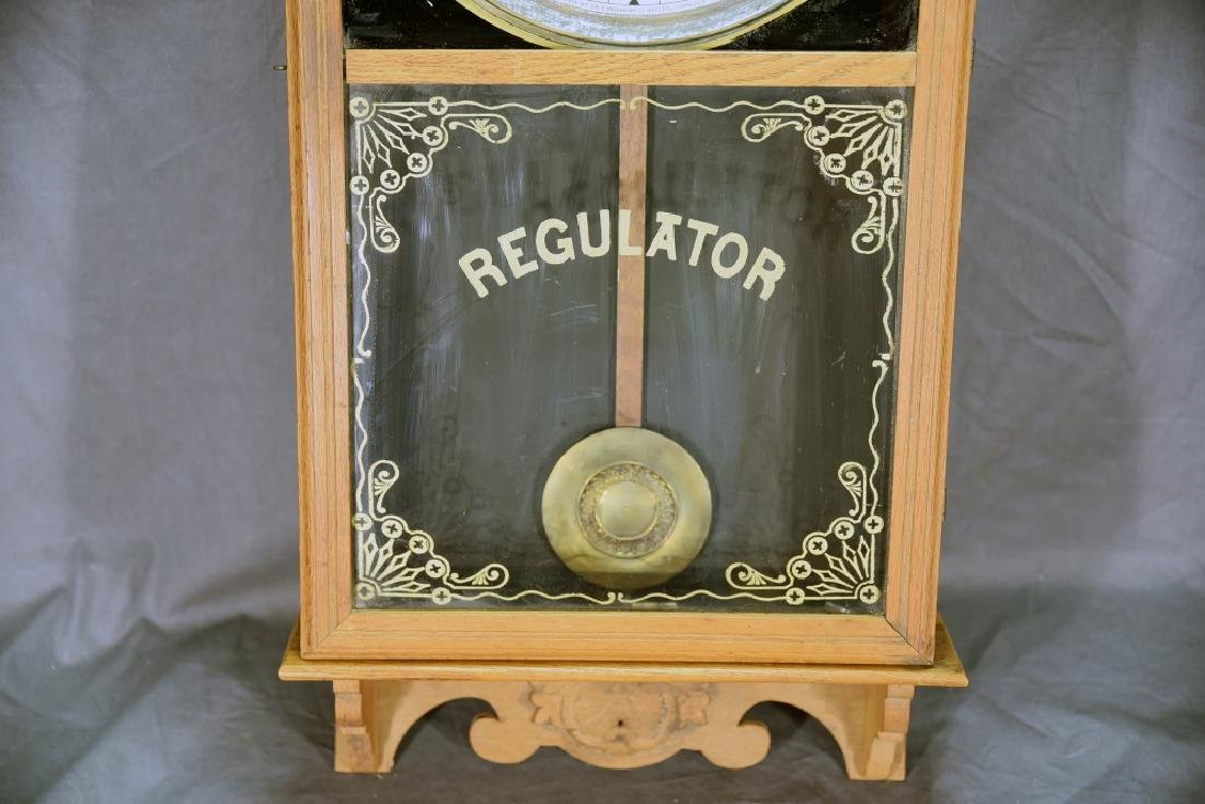 Ingraham Pressed Oak Regulator Clock - 4