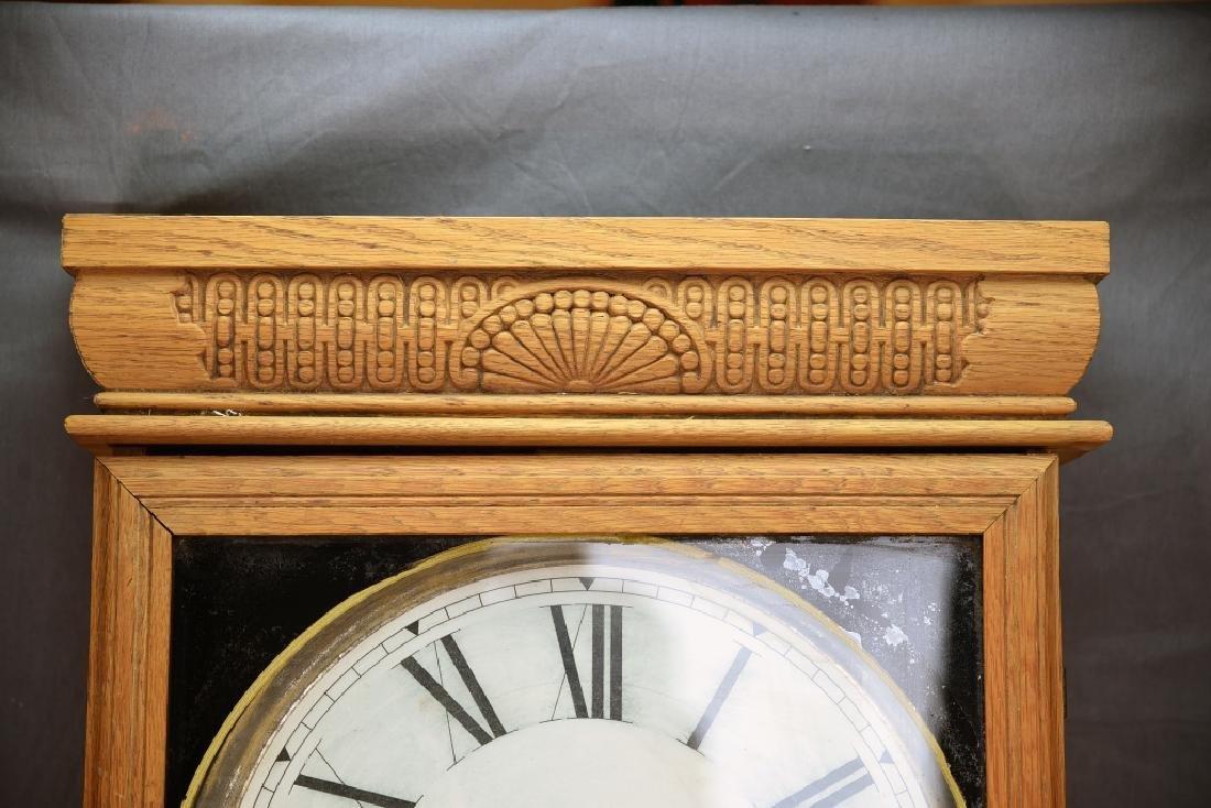 Ingraham Pressed Oak Regulator Clock - 5