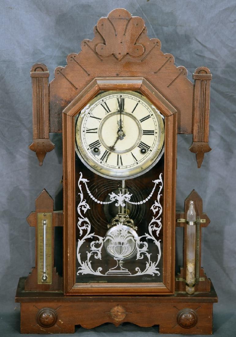 Waterbury Walnut Gingerbread Mantle Clock