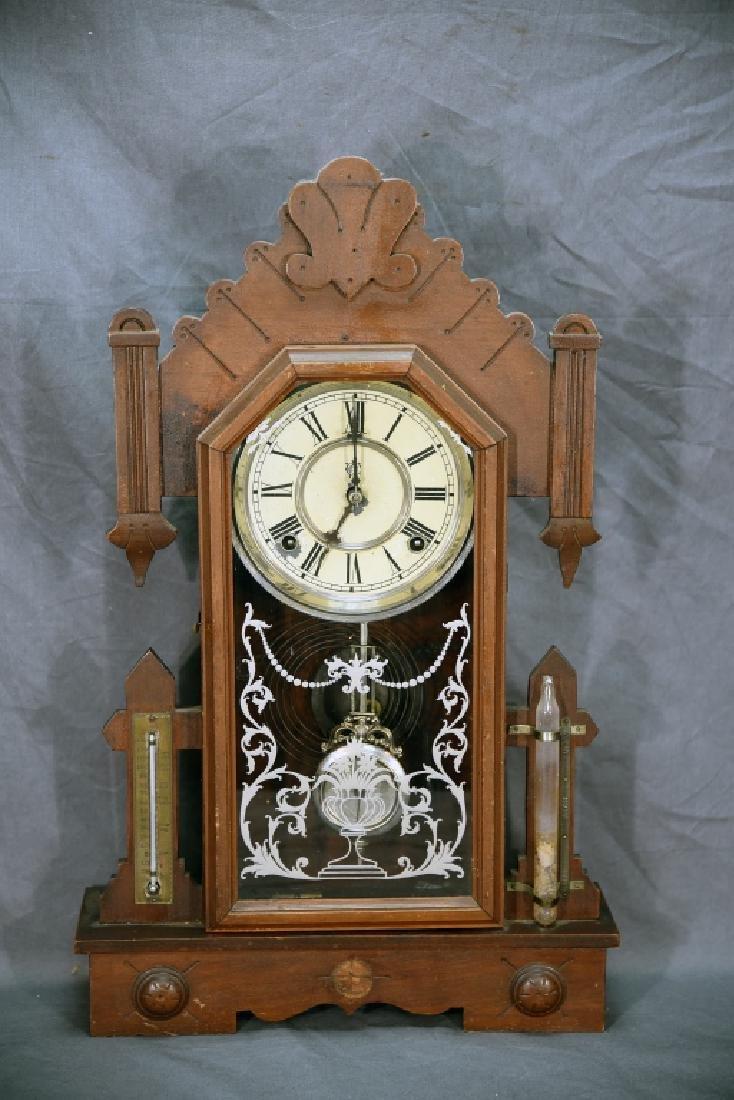 Waterbury Walnut Gingerbread Mantle Clock - 2