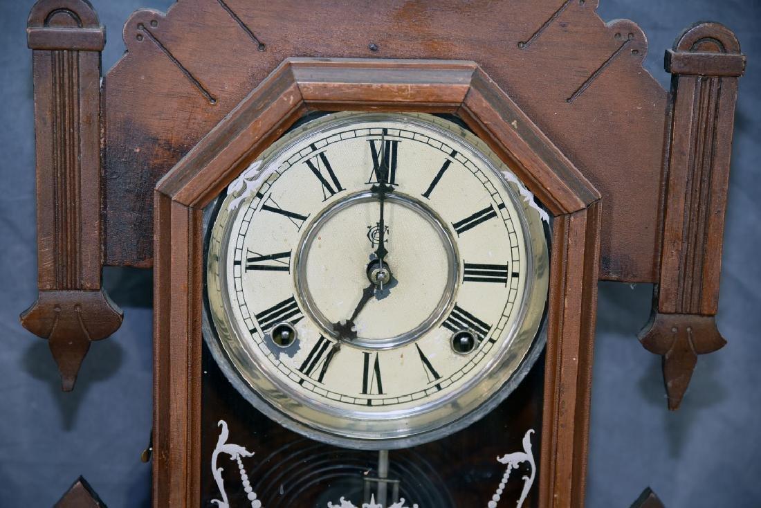 Waterbury Walnut Gingerbread Mantle Clock - 3