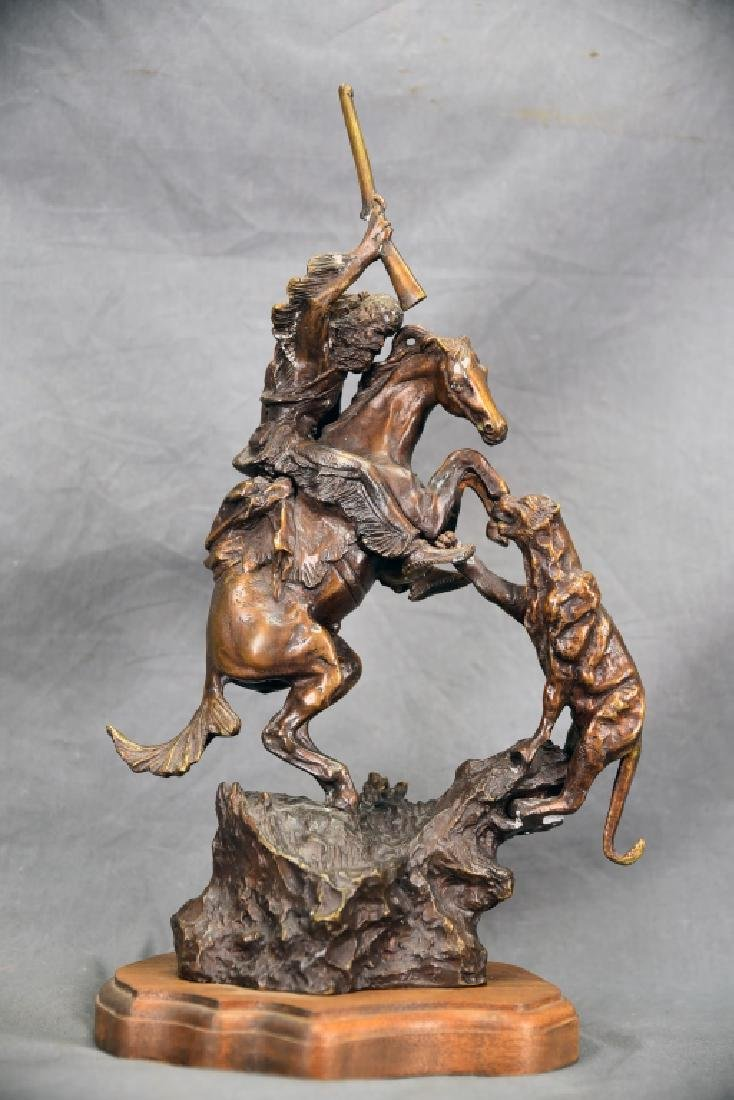 Charles Russell Wilderness Man on Horse Bronze