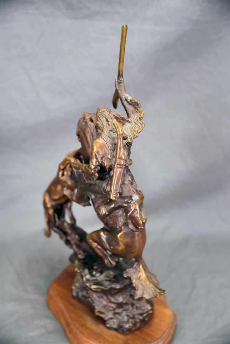 Charles Russell Wilderness Man on Horse Bronze - 6