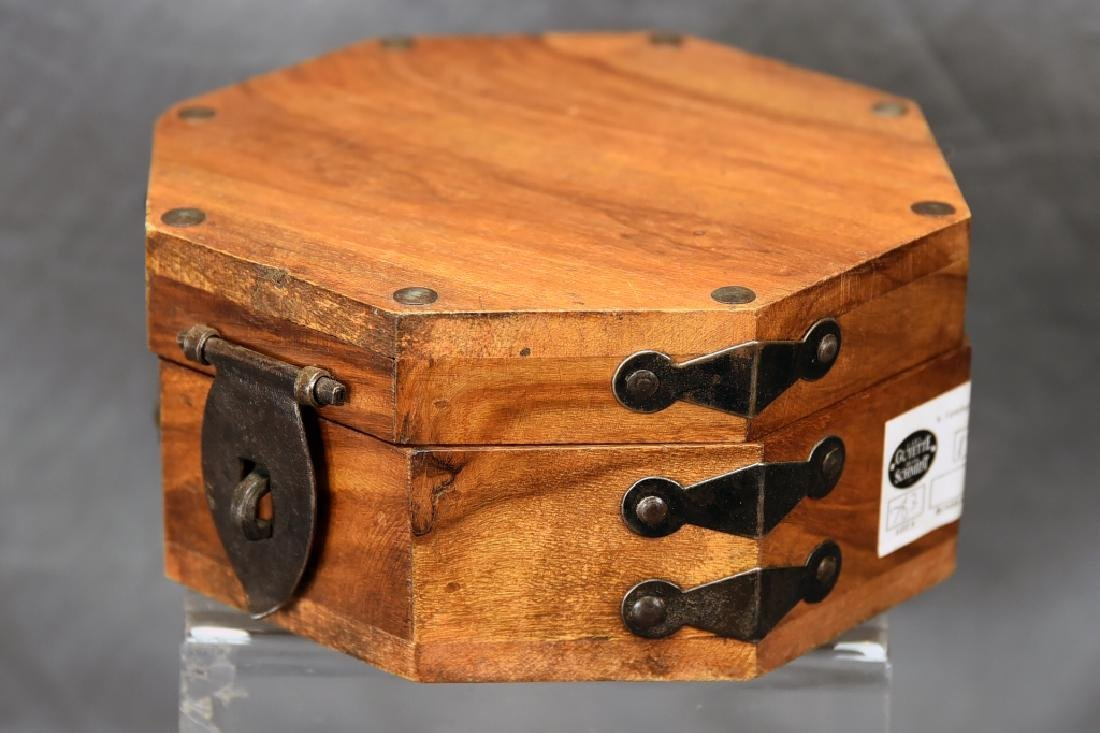 Hexagonal Wooden Box, Hand Wrought Hardware