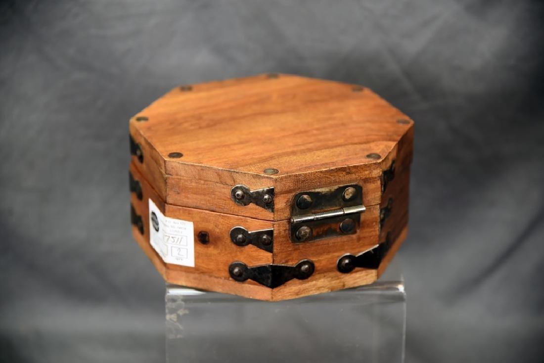 Hexagonal Wooden Box, Hand Wrought Hardware - 2