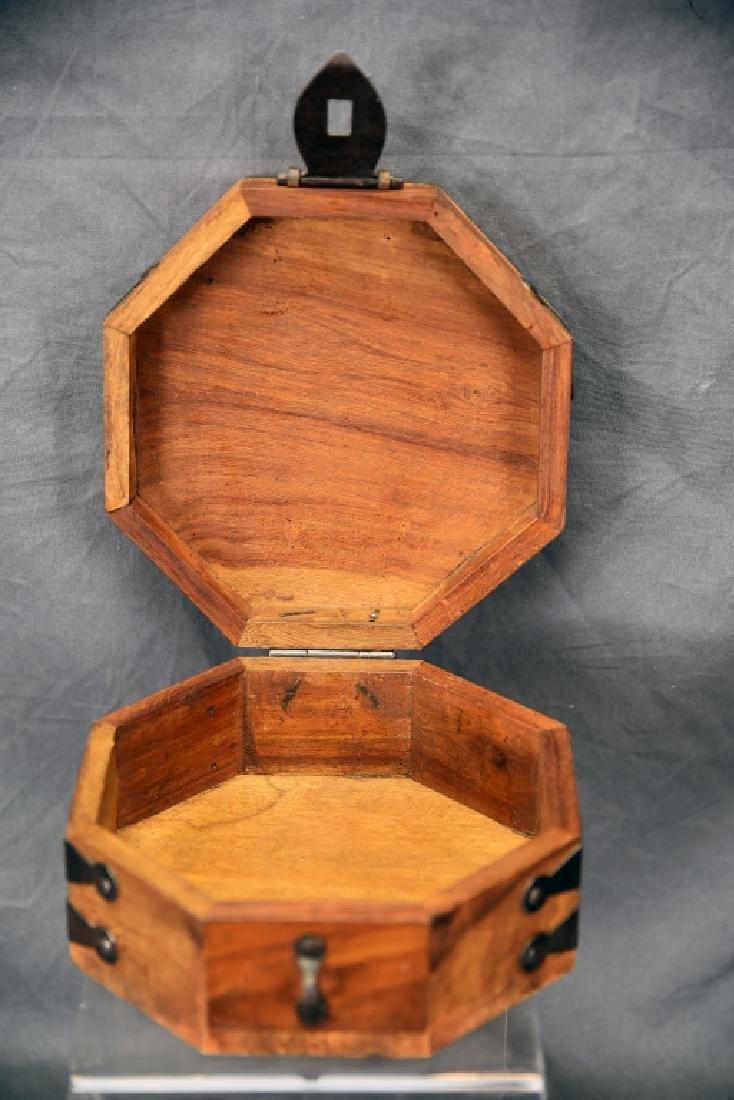 Hexagonal Wooden Box, Hand Wrought Hardware - 3