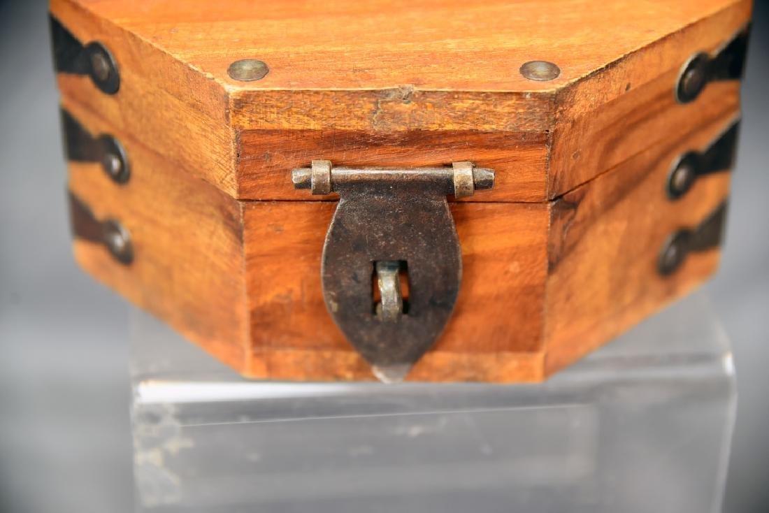 Hexagonal Wooden Box, Hand Wrought Hardware - 4