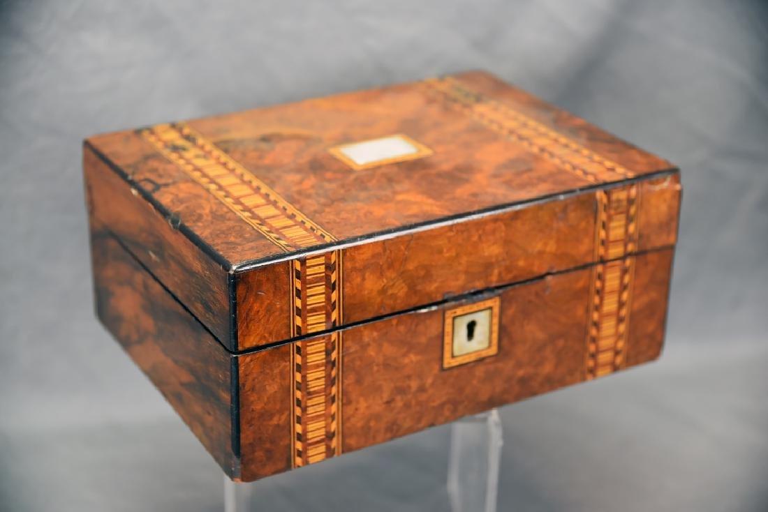 Burled Wood Inlaid Storage Box