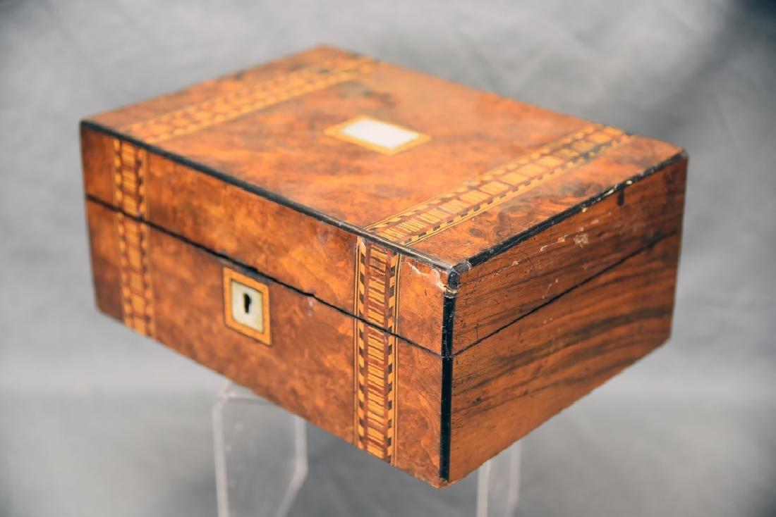 Burled Wood Inlaid Storage Box - 2