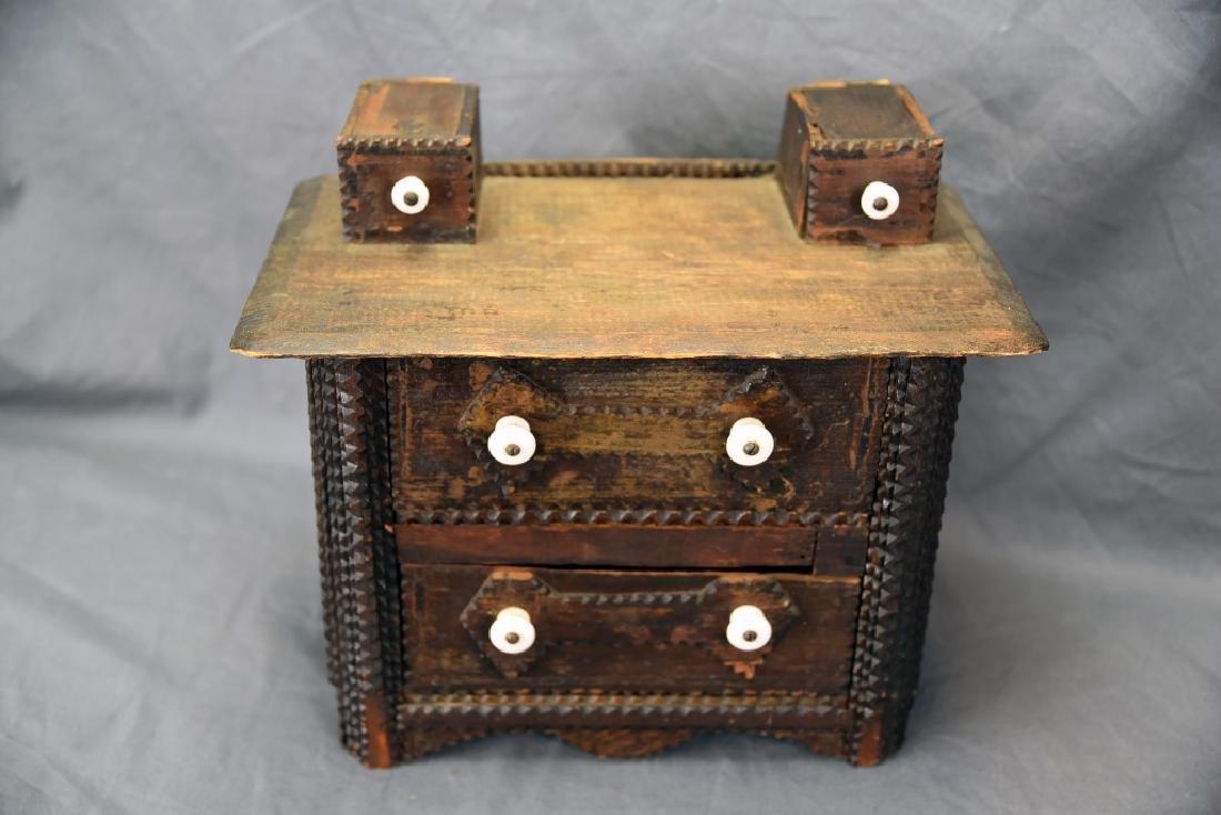 Tramp Art Miniature Dresser - 2