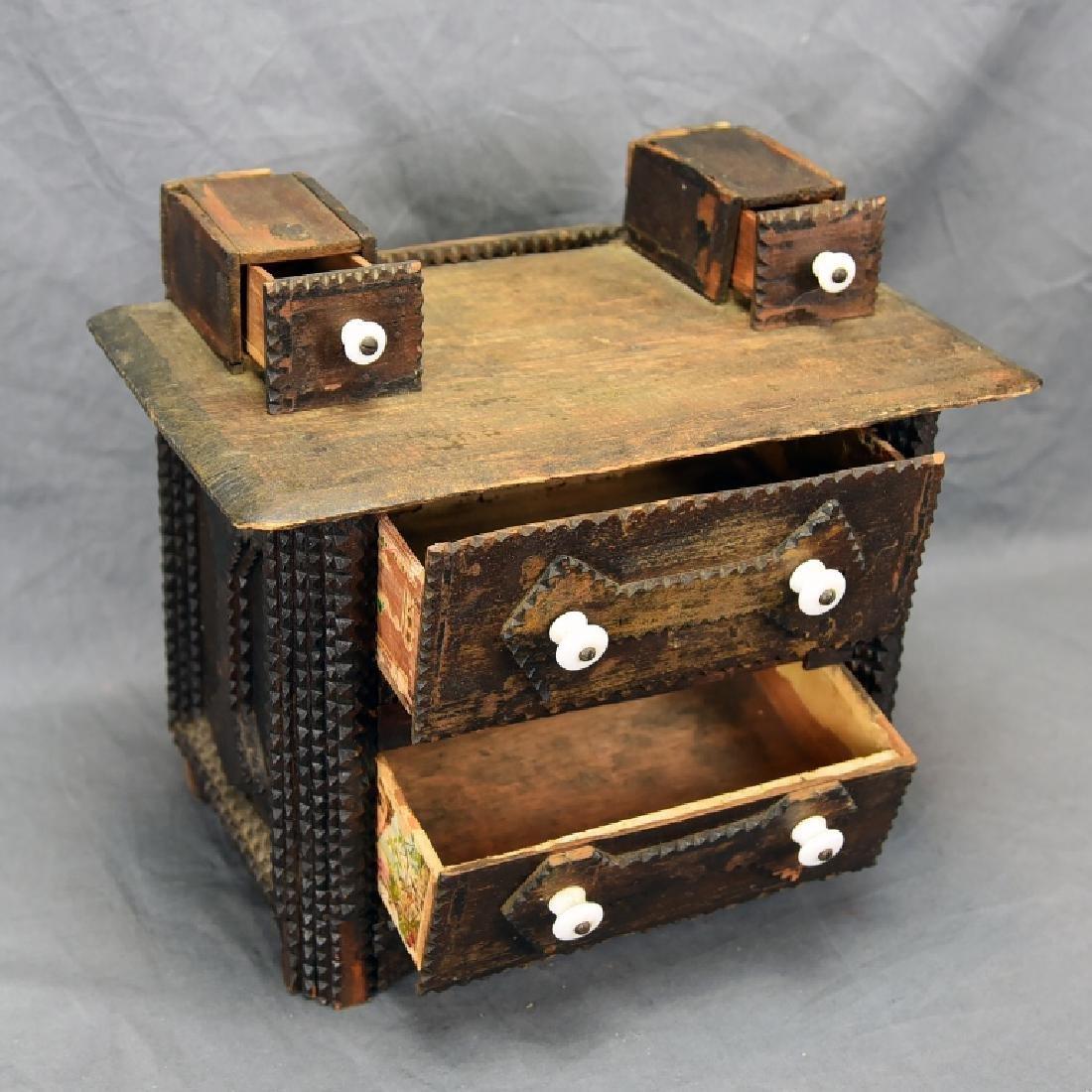 Tramp Art Miniature Dresser - 6