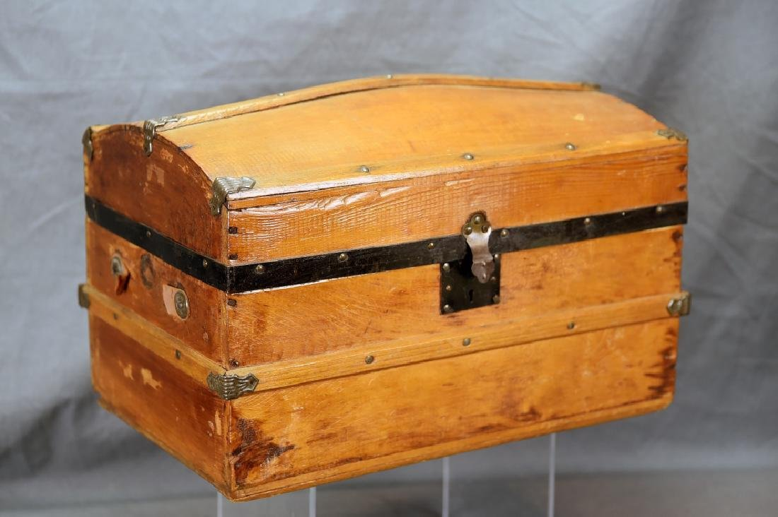 Miniature Wooden Hump Backed Trunk