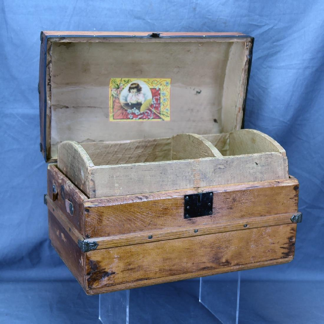 Miniature Wooden Hump Backed Trunk - 2