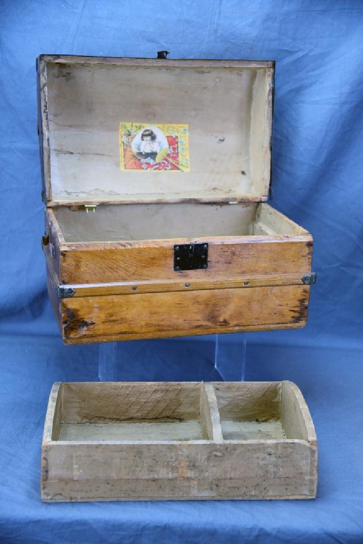Miniature Wooden Hump Backed Trunk - 4