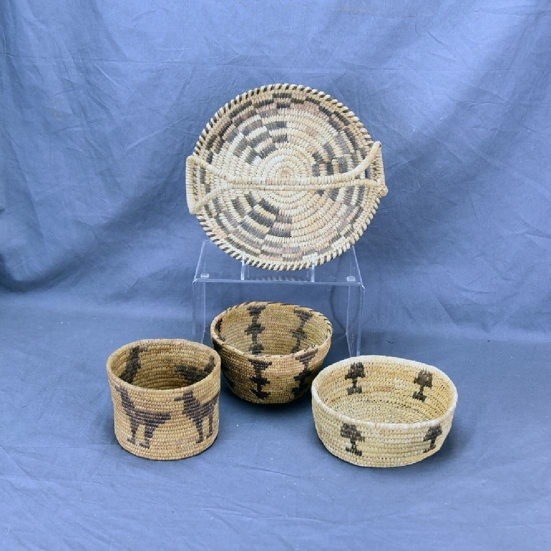 Lot of 4 Native American Coil Baskets