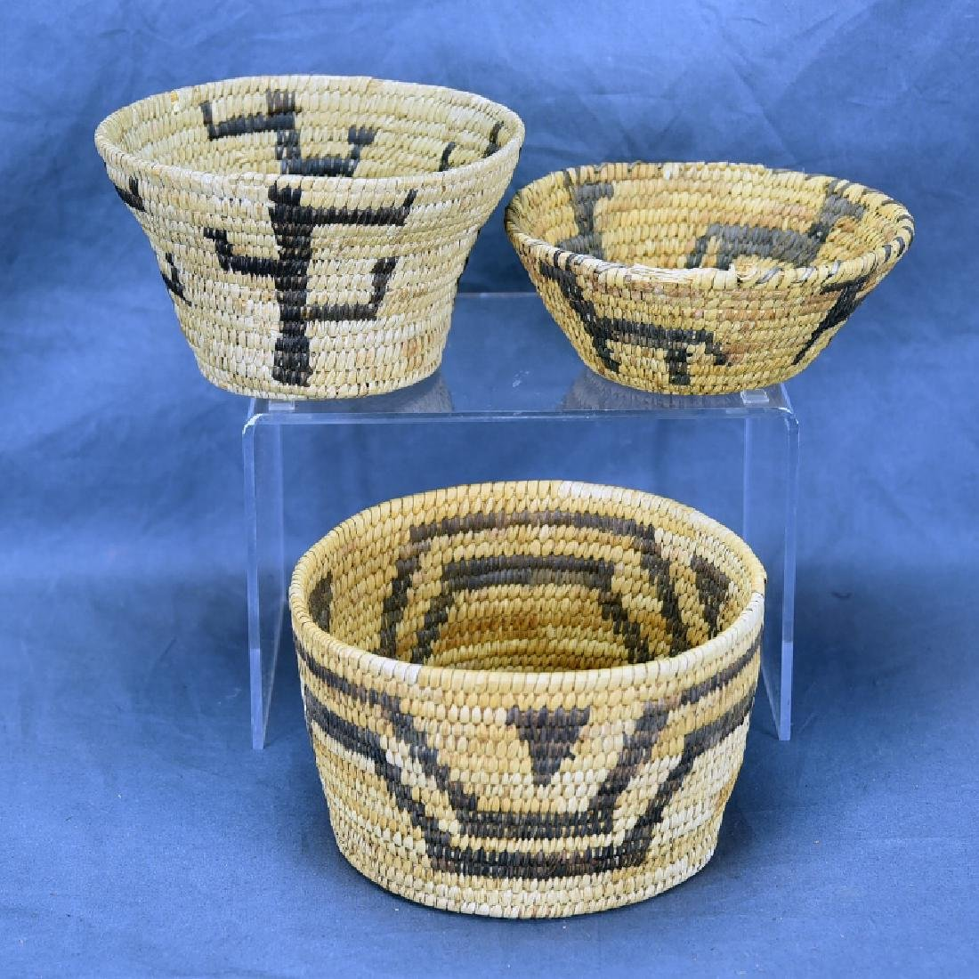 Lot of 3 Native American Coil Baskets