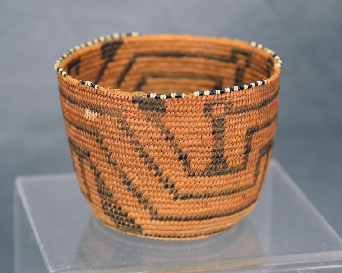 Fine Weave Native American Coil Beaded Basket