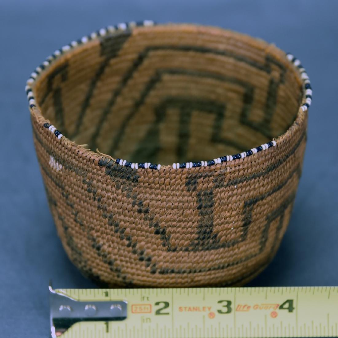 Fine Weave Native American Coil Beaded Basket - 2
