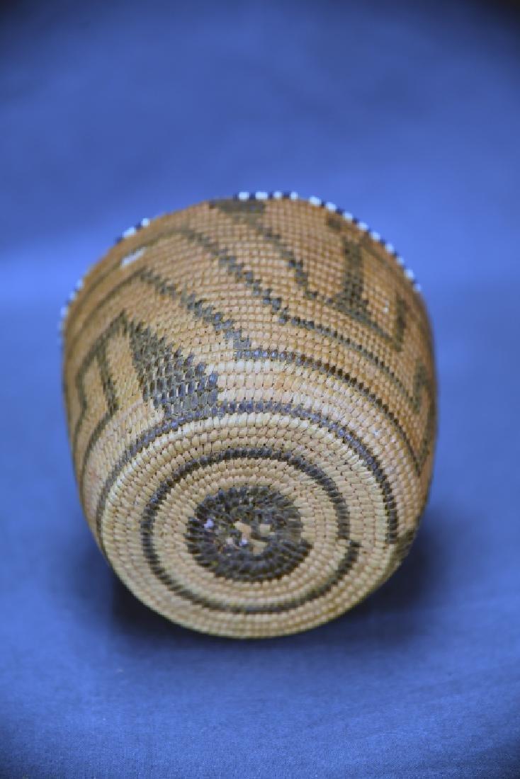 Fine Weave Native American Coil Beaded Basket - 3