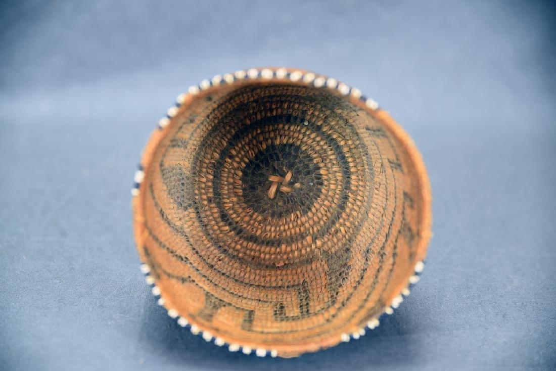 Fine Weave Native American Coil Beaded Basket - 4