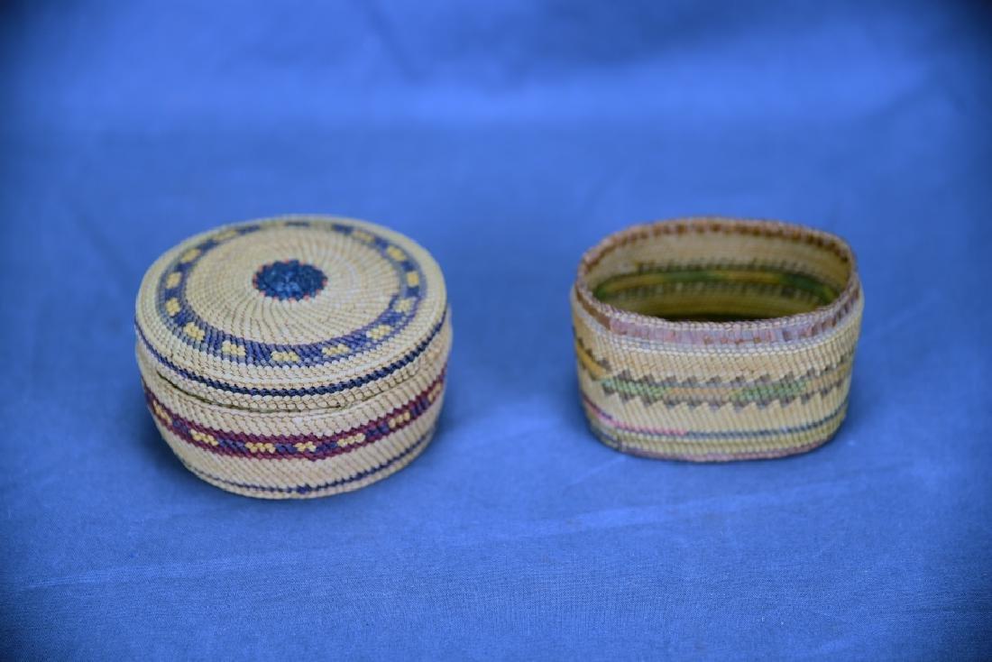 Lot of 2 Native American Makah Trinket Baskets