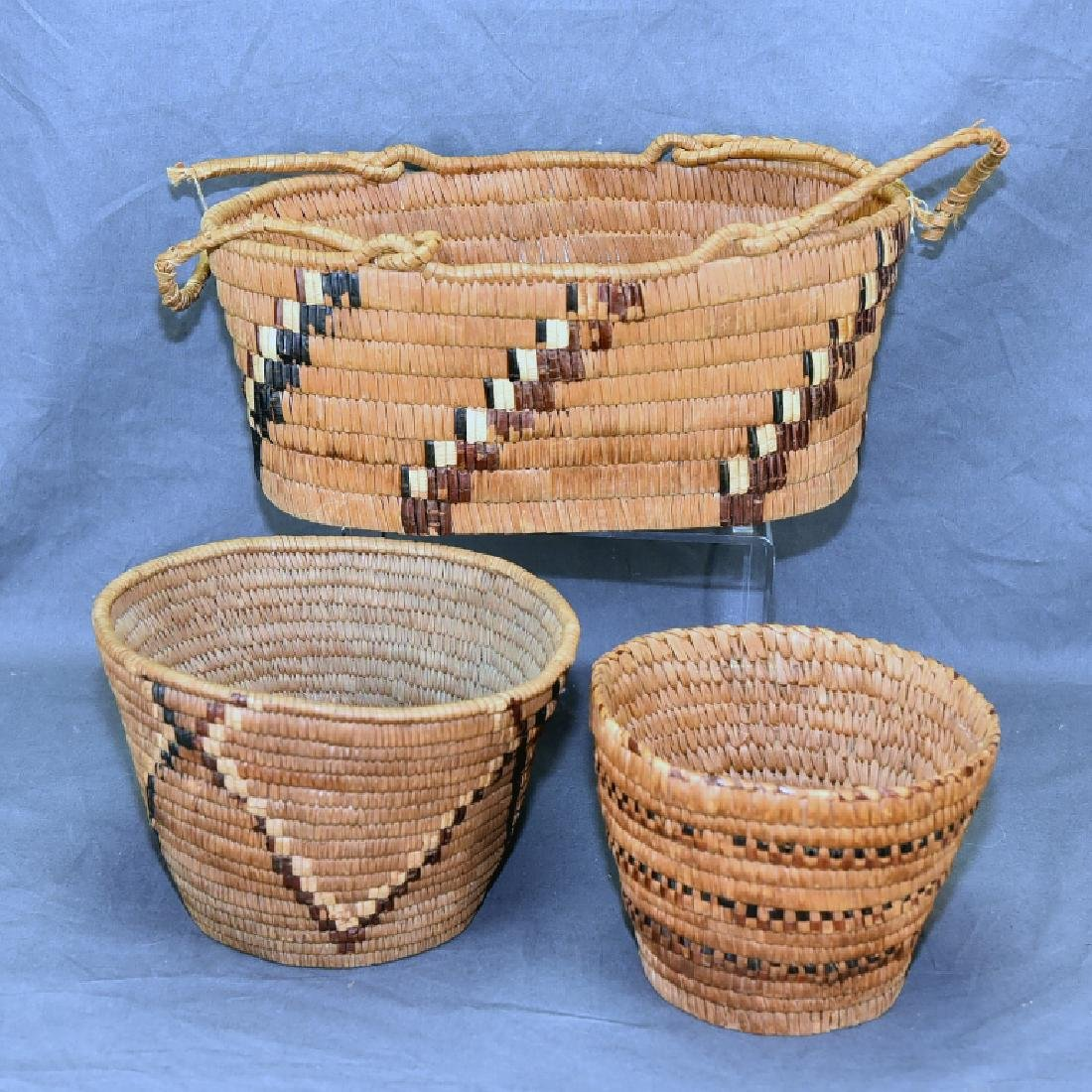 3 Thompson River Native American Baskets