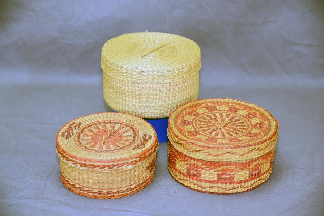 3 Native American Covered Baskets