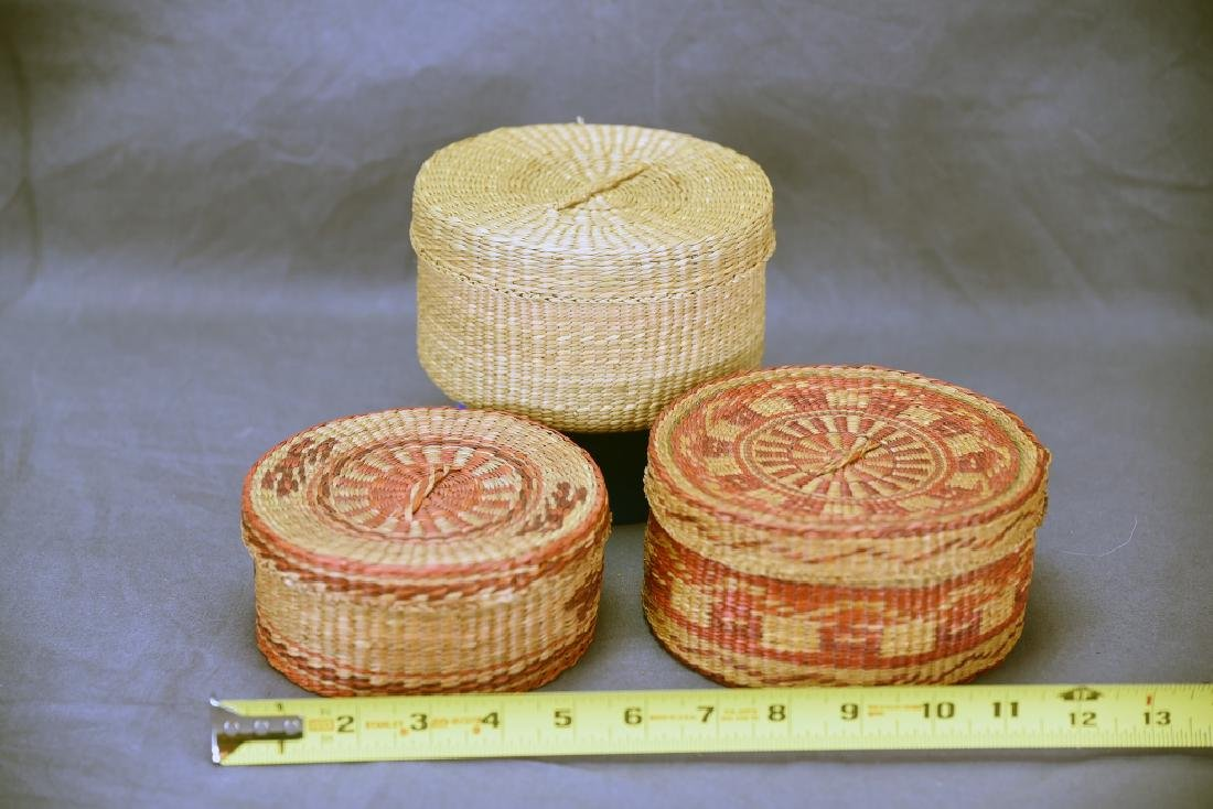3 Native American Covered Baskets - 2