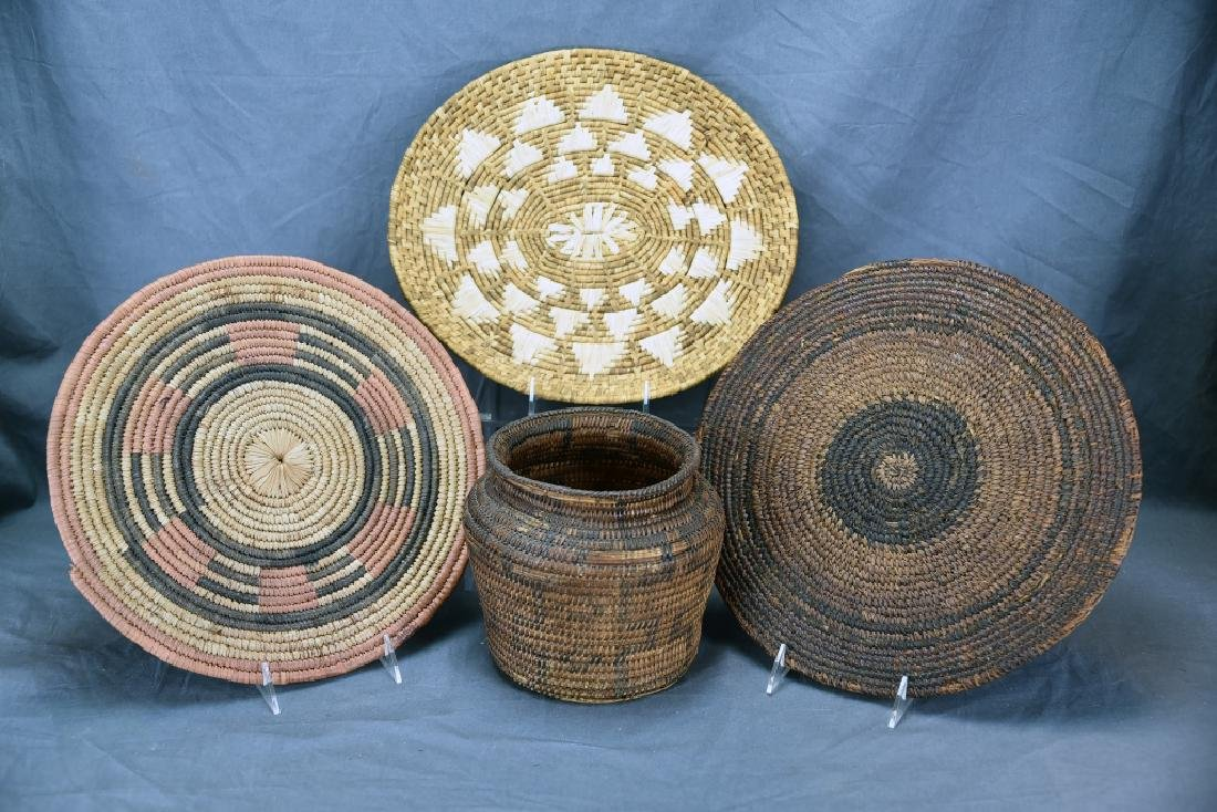2 Native American Coil Trays and a Basket