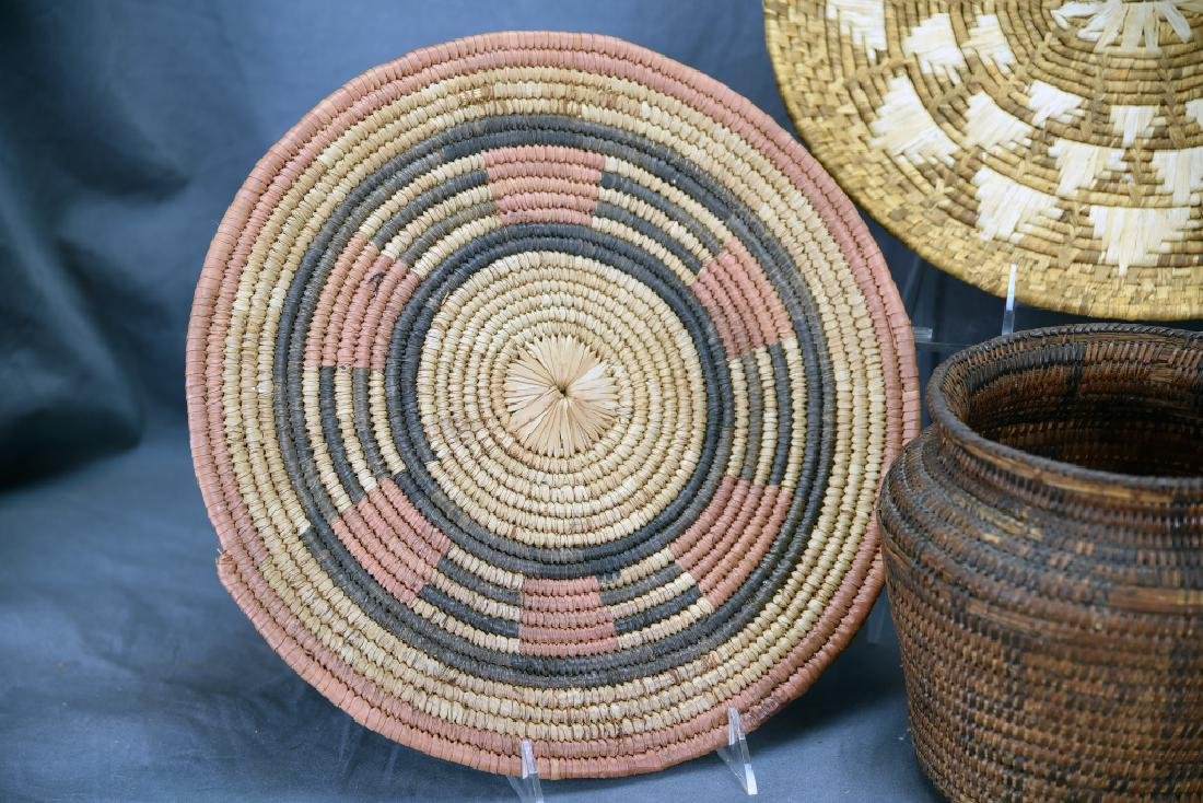 2 Native American Coil Trays and a Basket - 2