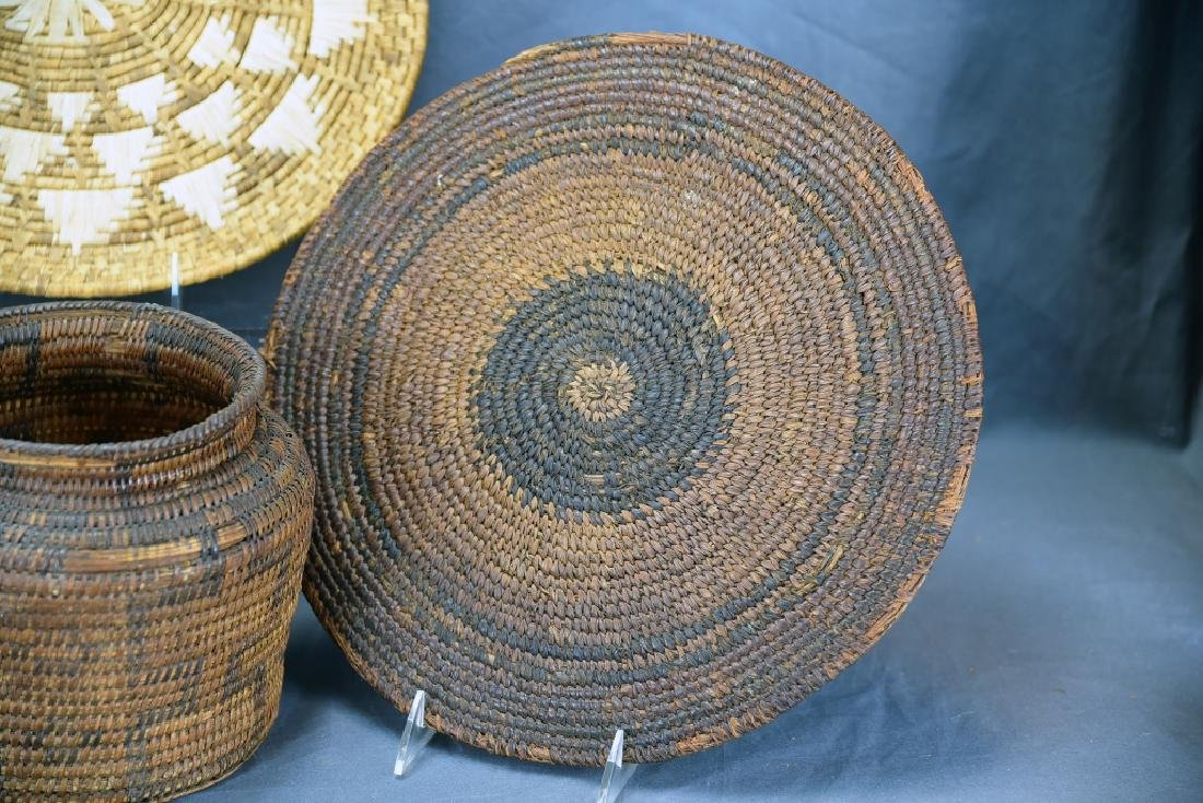 2 Native American Coil Trays and a Basket - 4