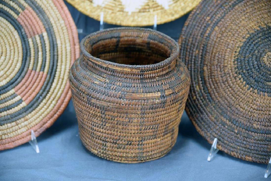 2 Native American Coil Trays and a Basket - 5