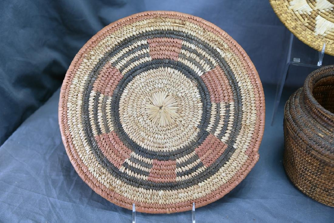 2 Native American Coil Trays and a Basket - 6