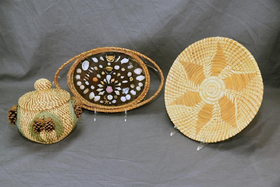 3 Native American Pine Needle Baskets