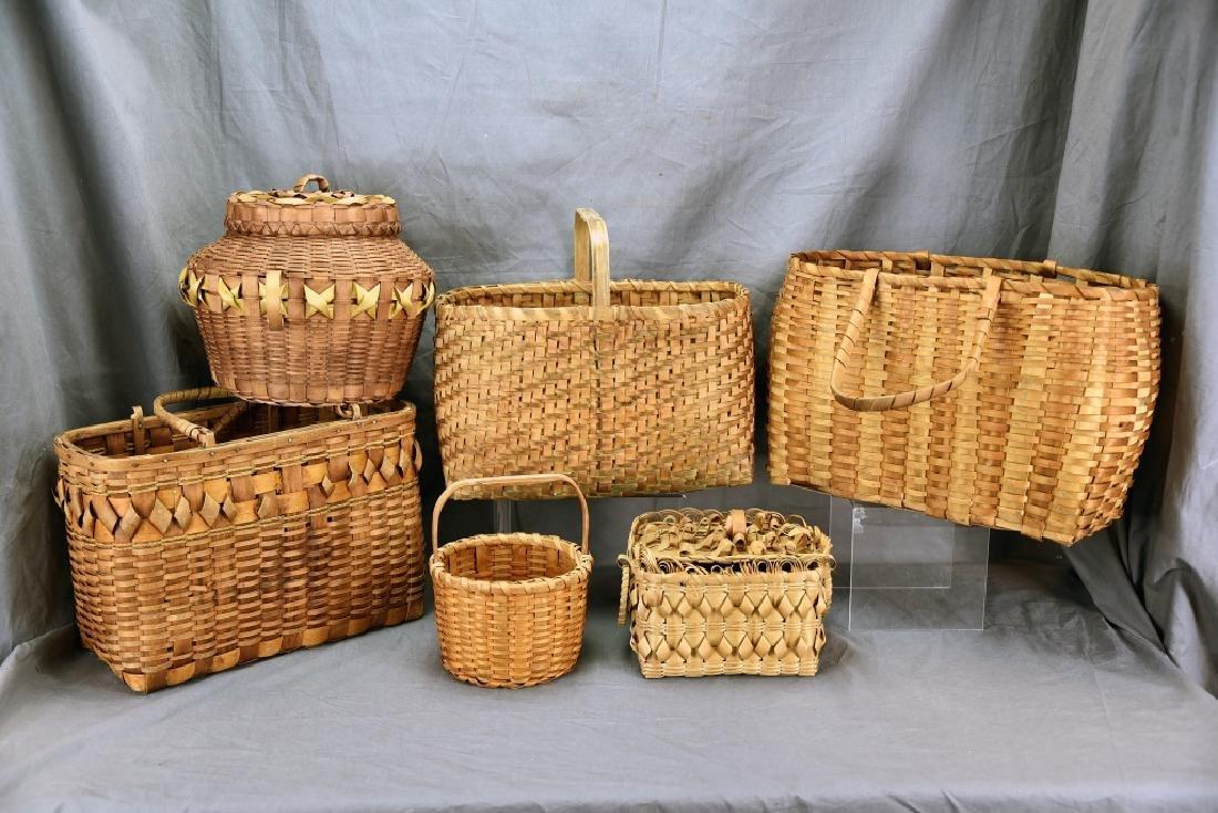 6 Native American Splint Market & Storage Baskets