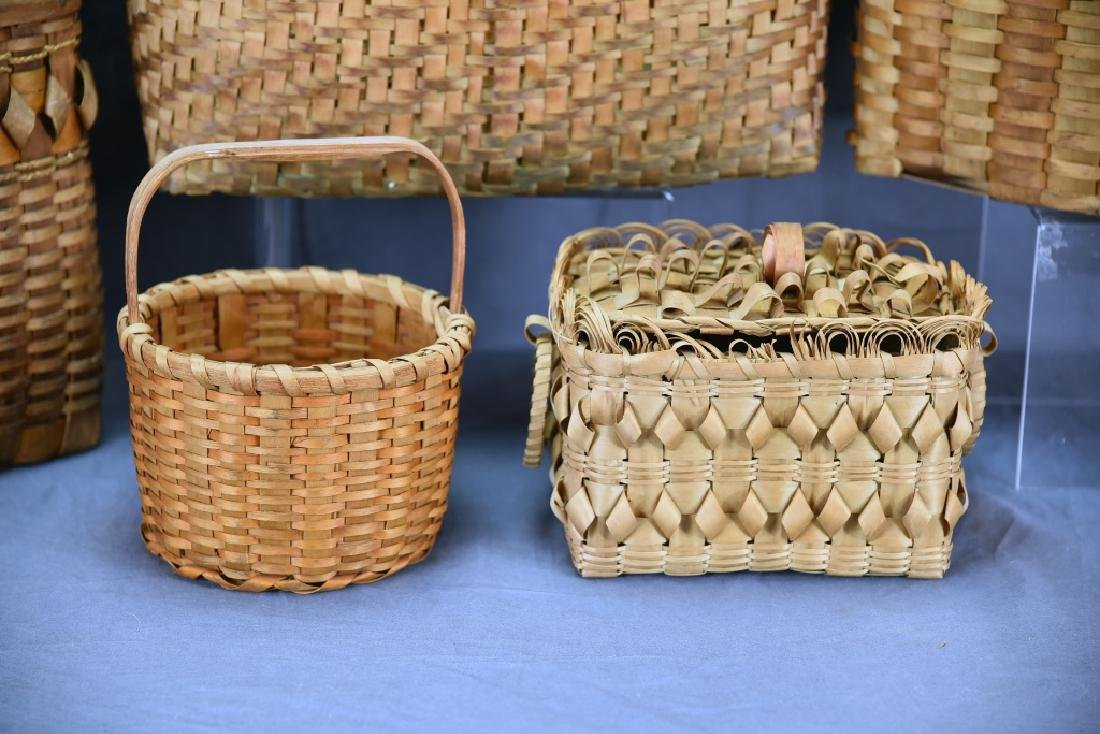6 Native American Splint Market & Storage Baskets - 2