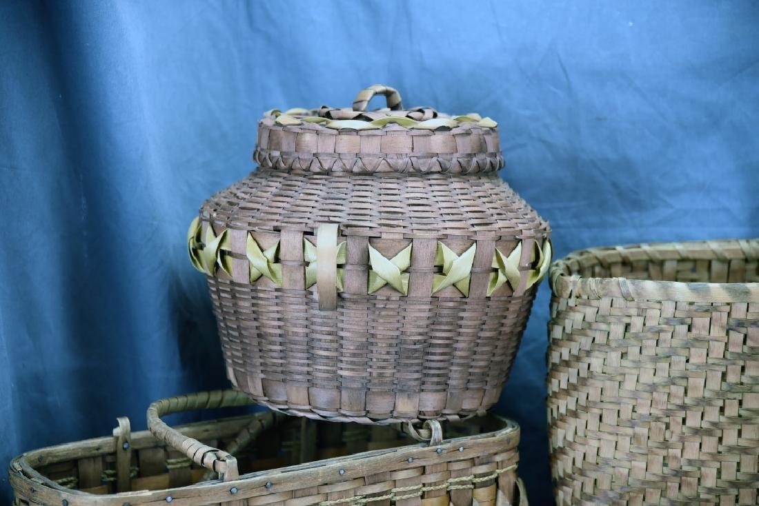 6 Native American Splint Market & Storage Baskets - 4