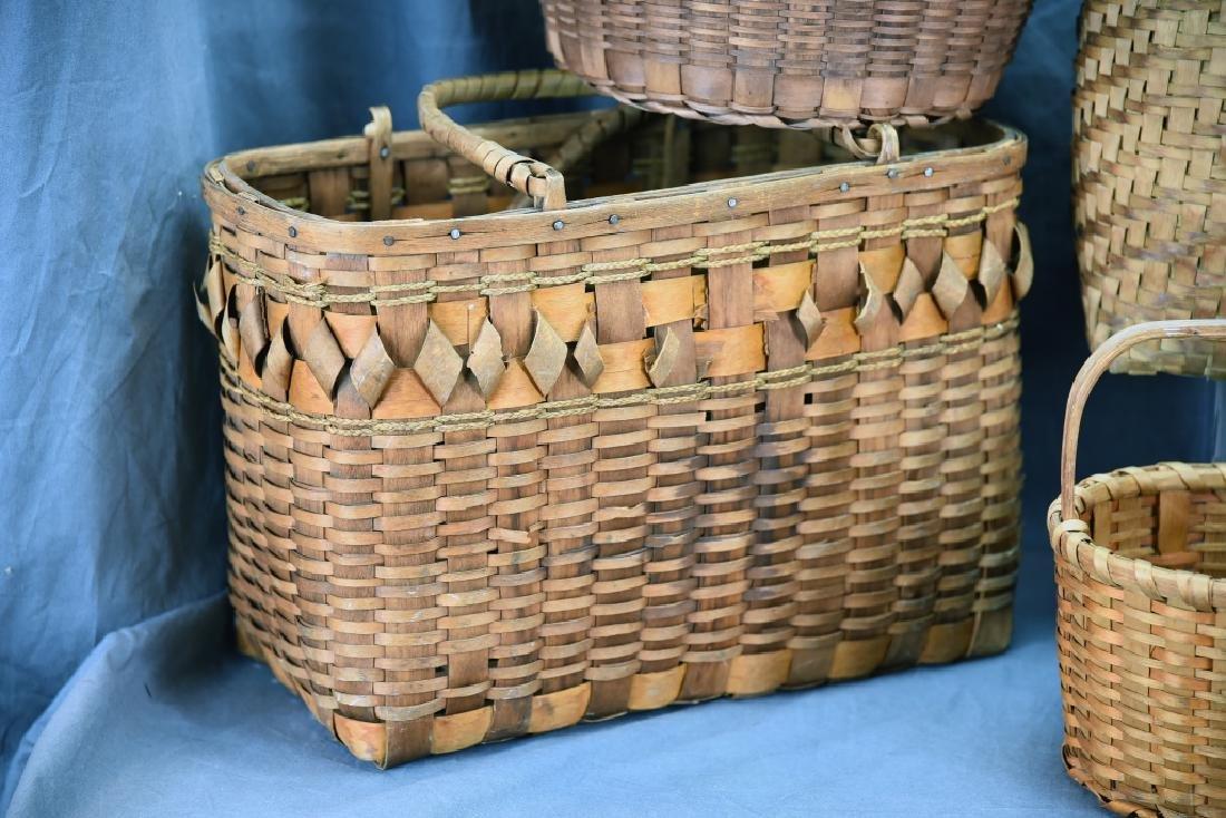 6 Native American Splint Market & Storage Baskets - 5