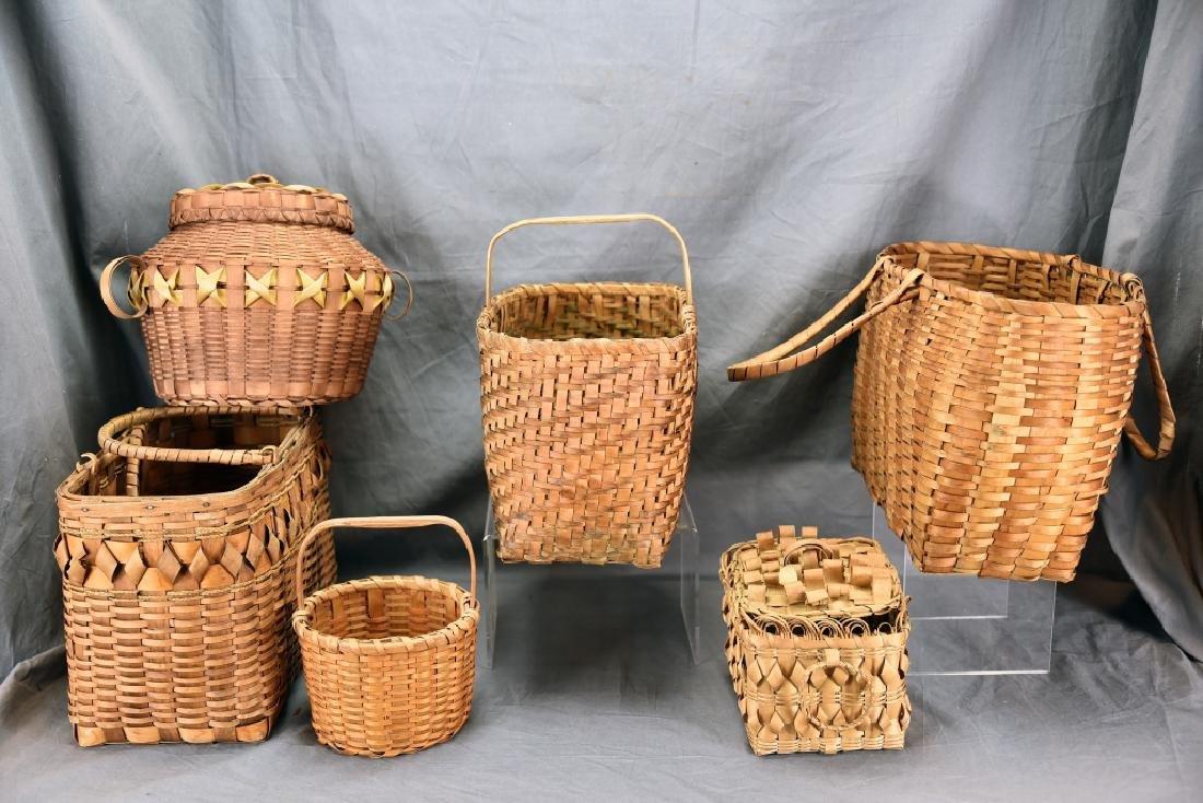 6 Native American Splint Market & Storage Baskets - 8