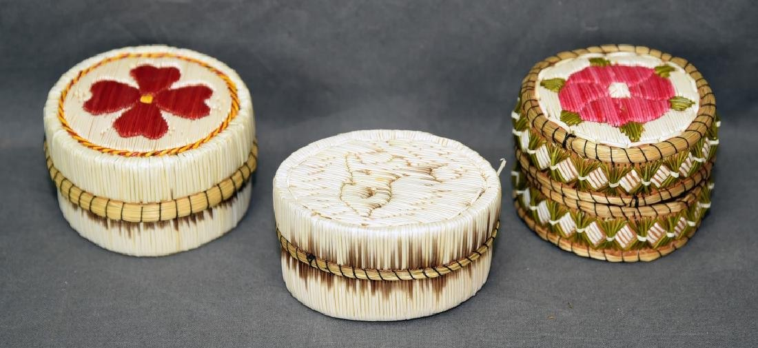 3 Porcupine Quill Boxes - 2