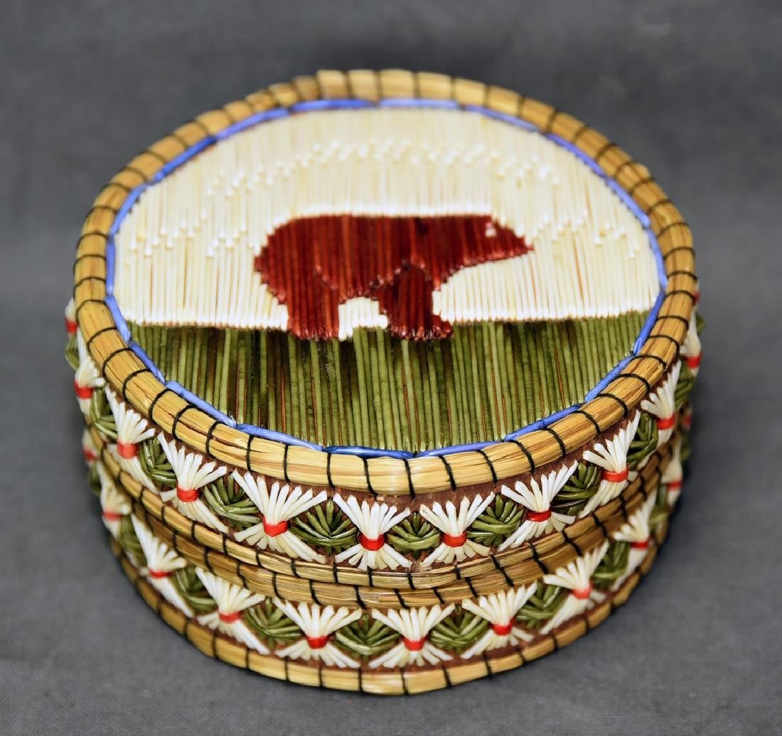 Iroquois Quill Box with Sweetgrass