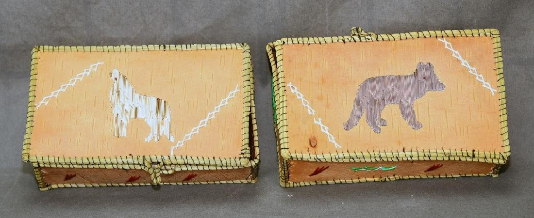 2 Ojibway Porcupine Quill Boxes Pitawanakwat