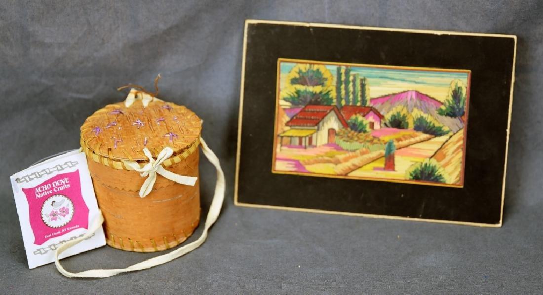 2 Pc. Lot Acho Dene Birch Bark Quill Box, Picture