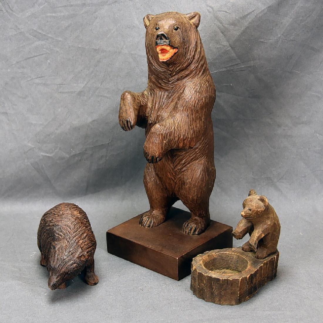 3 Vintage Carved Wooden Bears