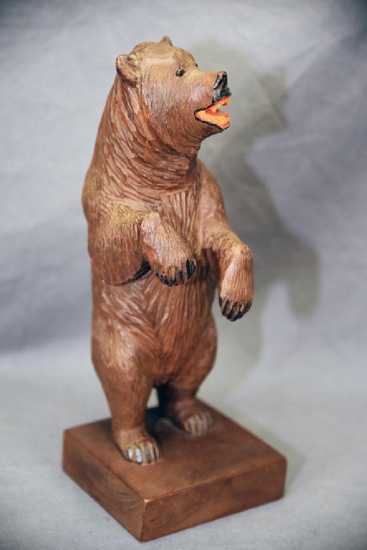 3 Vintage Carved Wooden Bears - 5