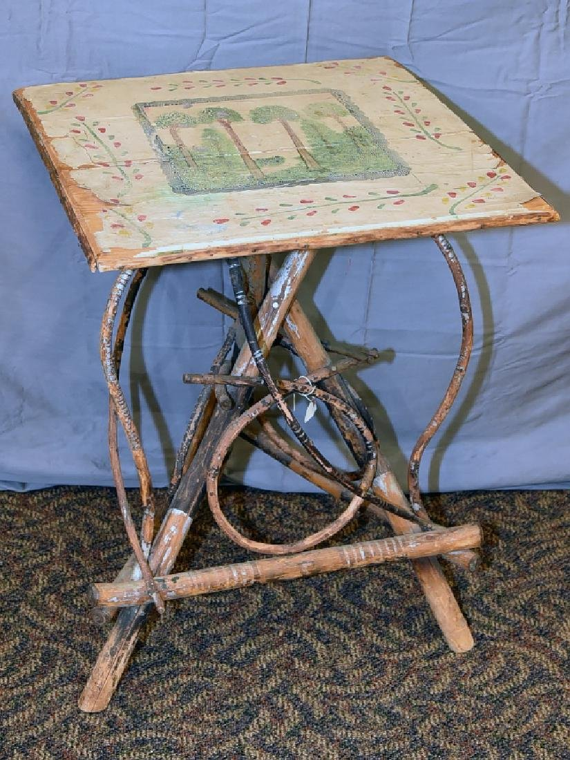 Large Vintage Twig Table with Decorative Painting