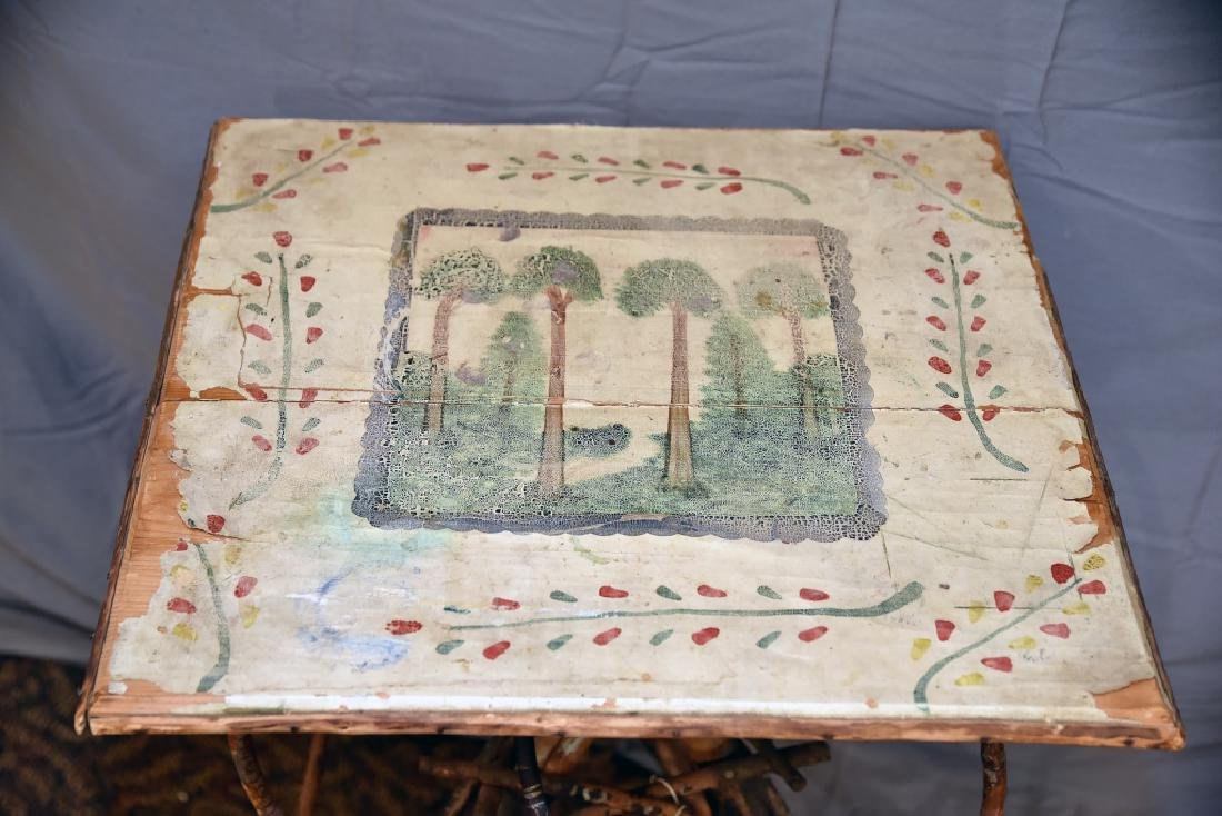 Large Vintage Twig Table with Decorative Painting - 2